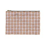 WOVEN1 WHITE MARBLE & RUSTED METAL (R) Cosmetic Bag (Large)  Front
