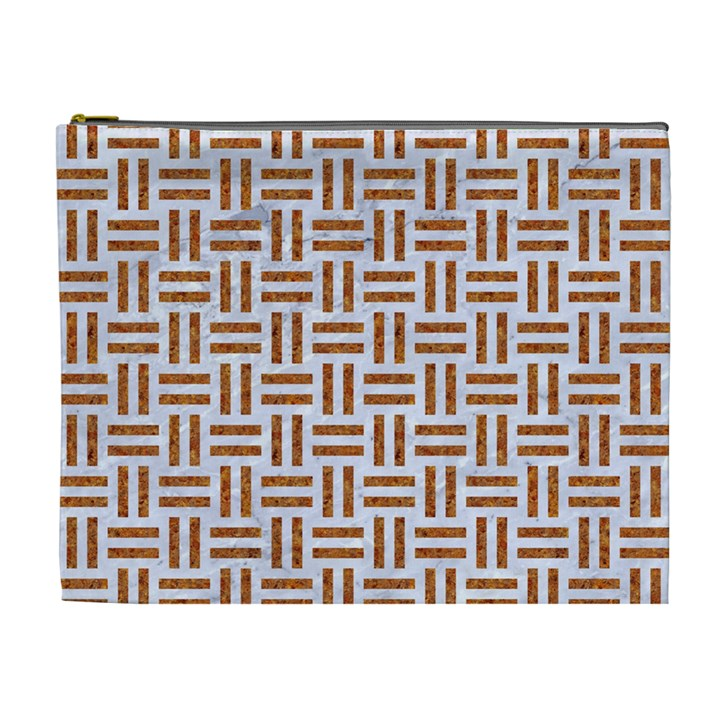WOVEN1 WHITE MARBLE & RUSTED METAL (R) Cosmetic Bag (XL)