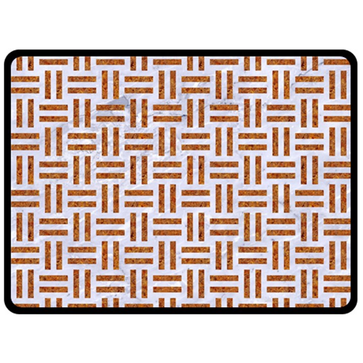 WOVEN1 WHITE MARBLE & RUSTED METAL (R) Fleece Blanket (Large)