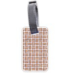 WOVEN1 WHITE MARBLE & RUSTED METAL (R) Luggage Tags (Two Sides) Front