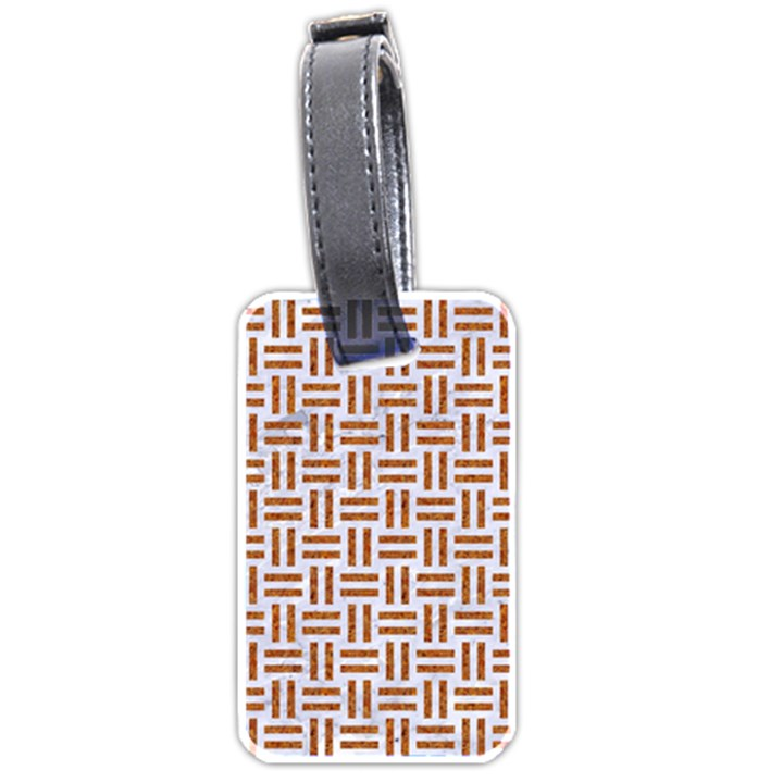 WOVEN1 WHITE MARBLE & RUSTED METAL (R) Luggage Tags (Two Sides)