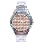 WOVEN1 WHITE MARBLE & RUSTED METAL (R) Stainless Steel Analogue Watch Front