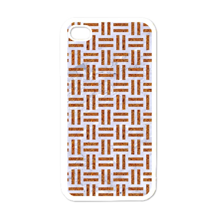 WOVEN1 WHITE MARBLE & RUSTED METAL (R) Apple iPhone 4 Case (White)