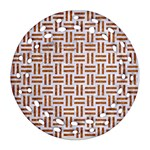 WOVEN1 WHITE MARBLE & RUSTED METAL (R) Ornament (Round Filigree) Front
