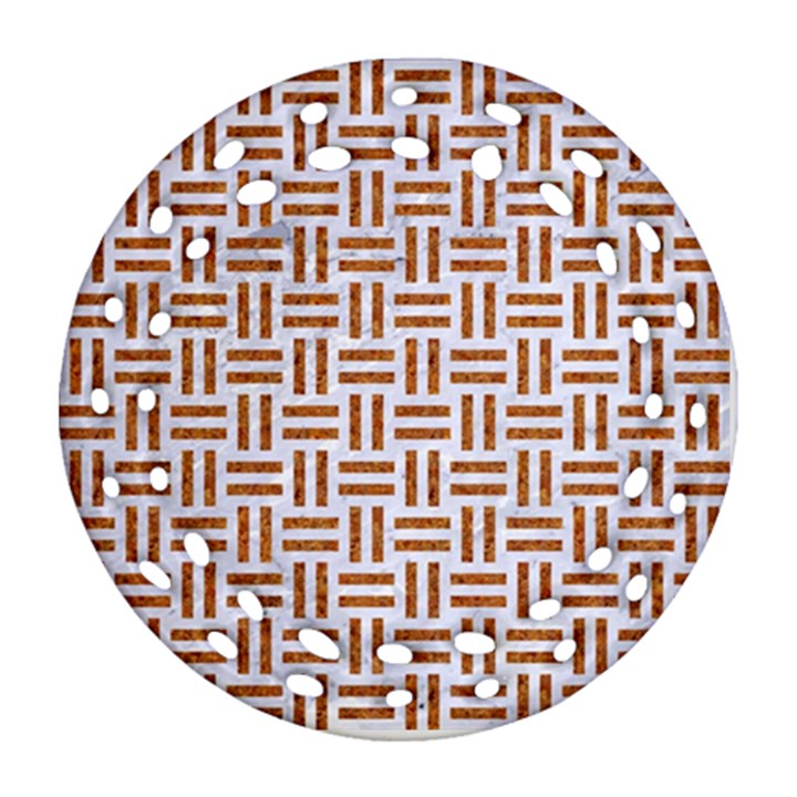 WOVEN1 WHITE MARBLE & RUSTED METAL (R) Ornament (Round Filigree)