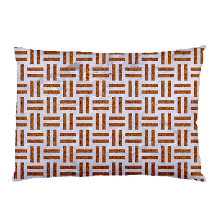 WOVEN1 WHITE MARBLE & RUSTED METAL (R) Pillow Case (Two Sides)