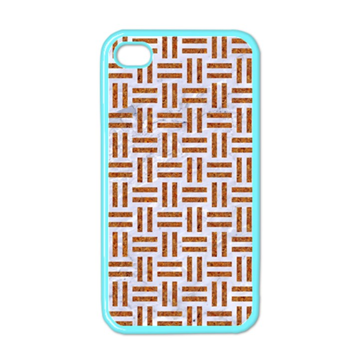 WOVEN1 WHITE MARBLE & RUSTED METAL (R) Apple iPhone 4 Case (Color)