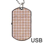 WOVEN1 WHITE MARBLE & RUSTED METAL (R) Dog Tag USB Flash (One Side) Front