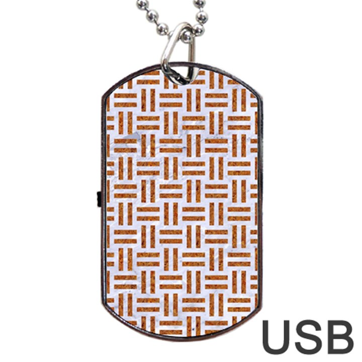 WOVEN1 WHITE MARBLE & RUSTED METAL (R) Dog Tag USB Flash (One Side)