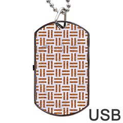 Woven1 White Marble & Rusted Metal (r) Dog Tag Usb Flash (two Sides)