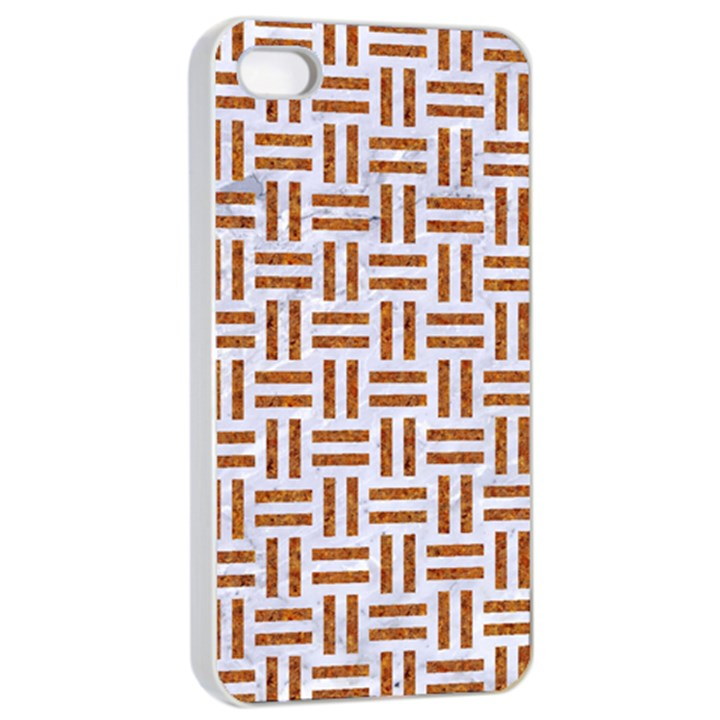 WOVEN1 WHITE MARBLE & RUSTED METAL (R) Apple iPhone 4/4s Seamless Case (White)