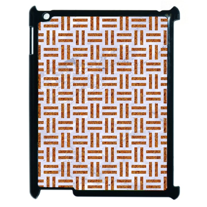 WOVEN1 WHITE MARBLE & RUSTED METAL (R) Apple iPad 2 Case (Black)