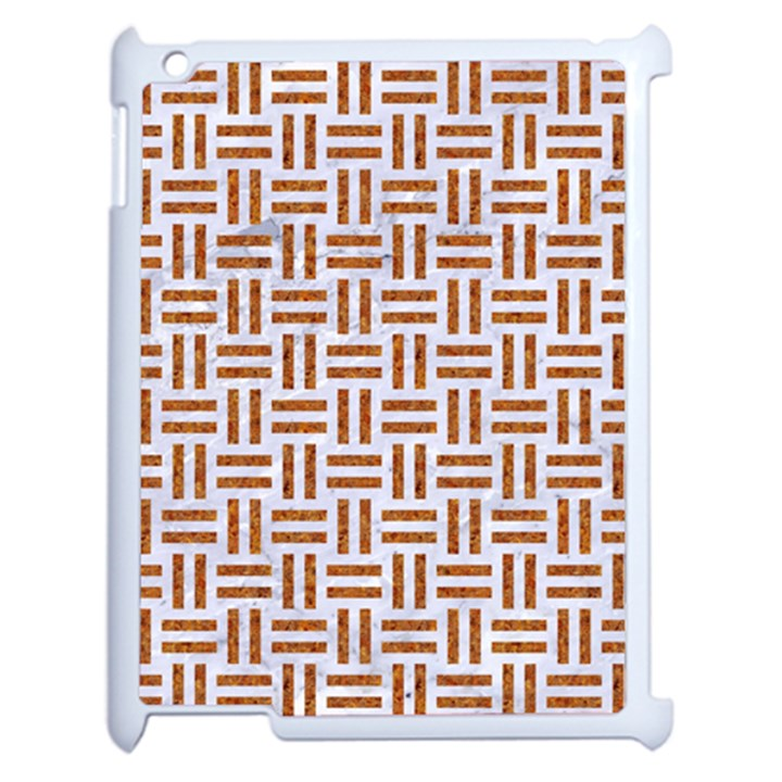 WOVEN1 WHITE MARBLE & RUSTED METAL (R) Apple iPad 2 Case (White)