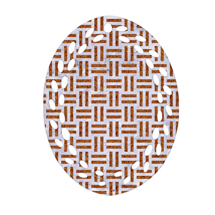 WOVEN1 WHITE MARBLE & RUSTED METAL (R) Ornament (Oval Filigree)