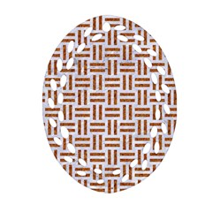 Woven1 White Marble & Rusted Metal (r) Oval Filigree Ornament (two Sides)