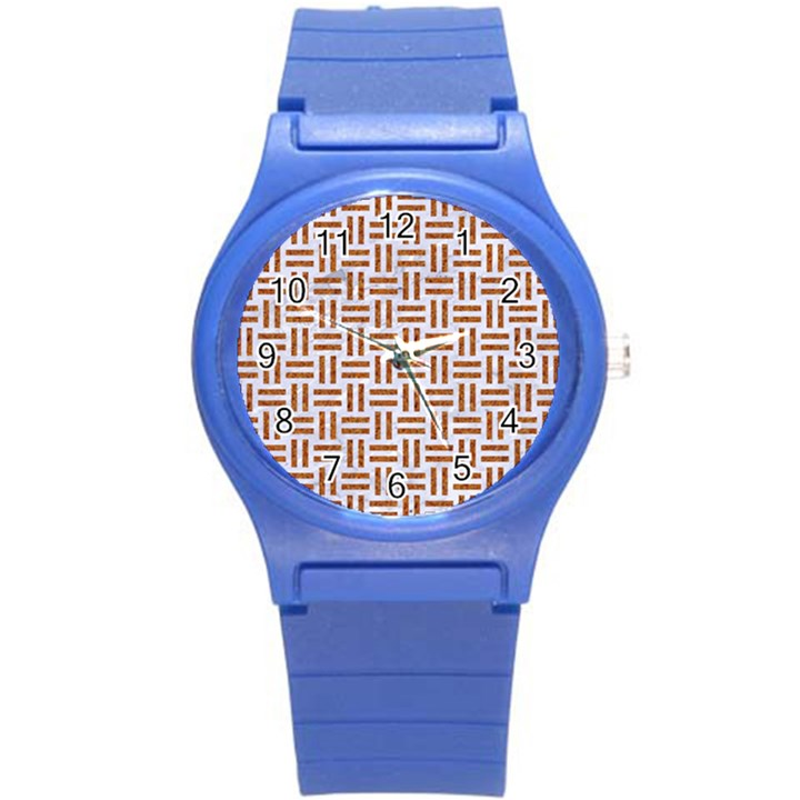 WOVEN1 WHITE MARBLE & RUSTED METAL (R) Round Plastic Sport Watch (S)
