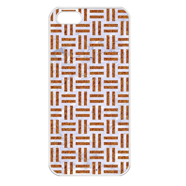 WOVEN1 WHITE MARBLE & RUSTED METAL (R) Apple iPhone 5 Seamless Case (White)