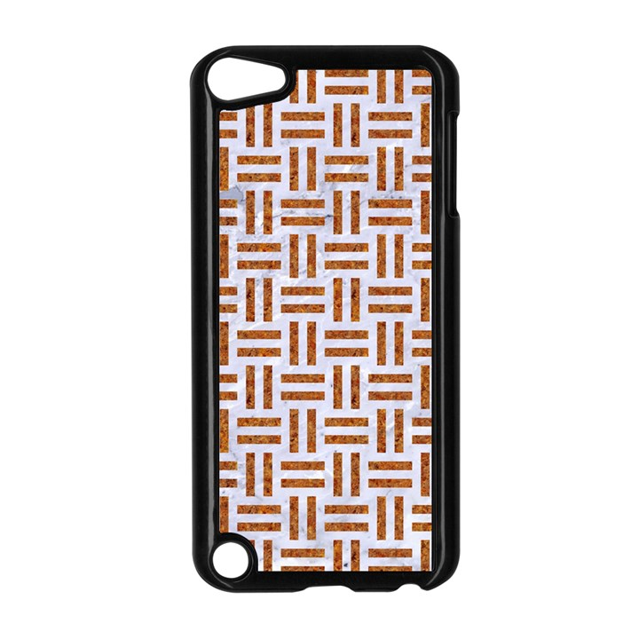 WOVEN1 WHITE MARBLE & RUSTED METAL (R) Apple iPod Touch 5 Case (Black)