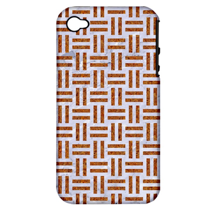 WOVEN1 WHITE MARBLE & RUSTED METAL (R) Apple iPhone 4/4S Hardshell Case (PC+Silicone)