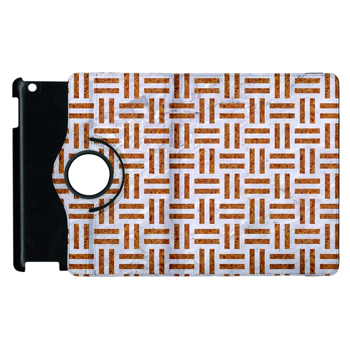 WOVEN1 WHITE MARBLE & RUSTED METAL (R) Apple iPad 2 Flip 360 Case