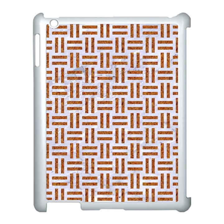 WOVEN1 WHITE MARBLE & RUSTED METAL (R) Apple iPad 3/4 Case (White)