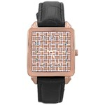 WOVEN1 WHITE MARBLE & RUSTED METAL (R) Rose Gold Leather Watch  Front