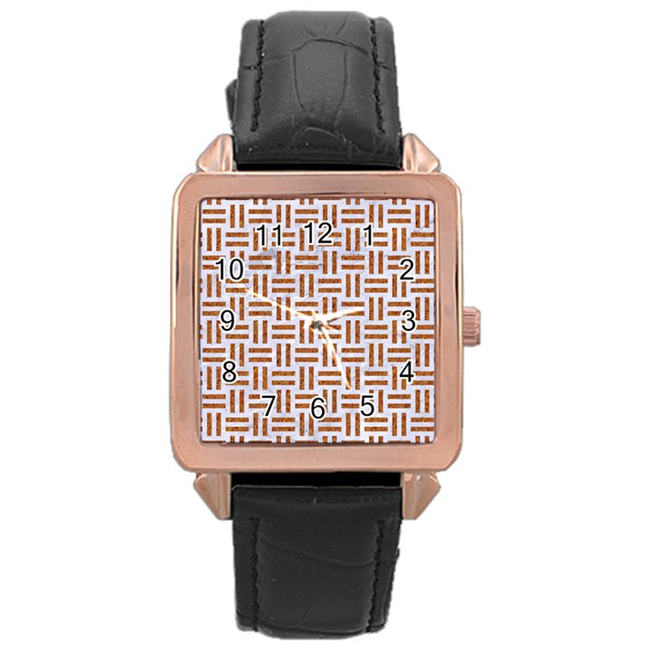 WOVEN1 WHITE MARBLE & RUSTED METAL (R) Rose Gold Leather Watch