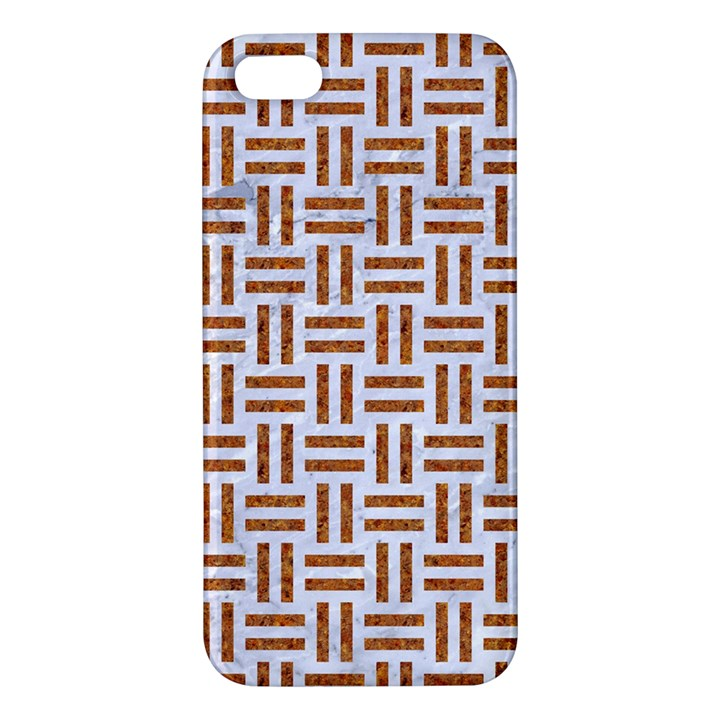 WOVEN1 WHITE MARBLE & RUSTED METAL (R) Apple iPhone 5 Premium Hardshell Case