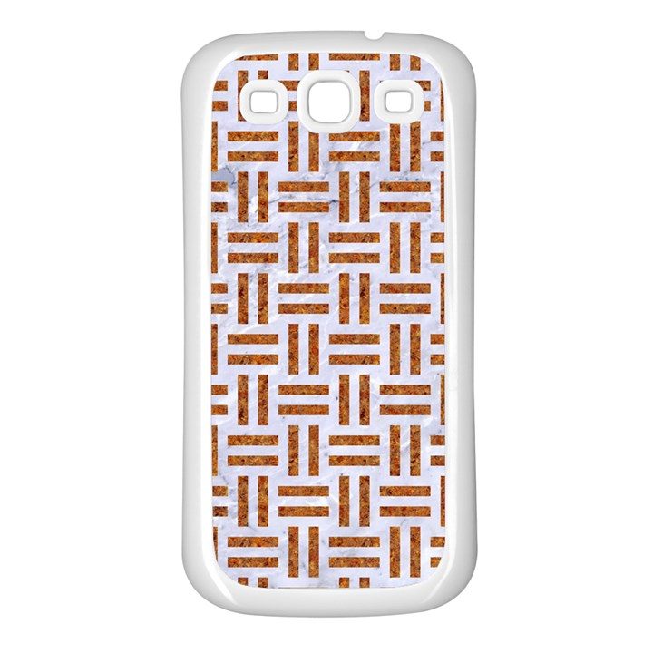 WOVEN1 WHITE MARBLE & RUSTED METAL (R) Samsung Galaxy S3 Back Case (White)