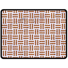 Woven1 White Marble & Rusted Metal (r) Double Sided Fleece Blanket (large)