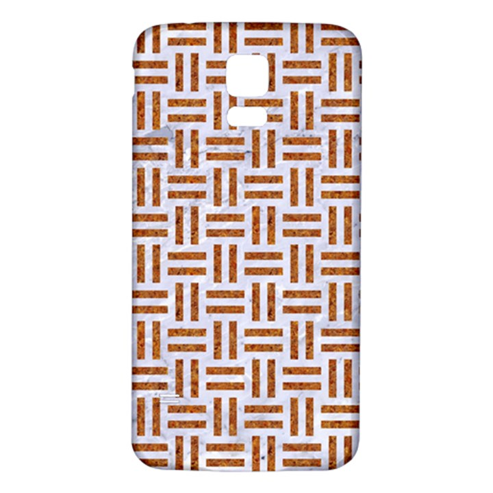 WOVEN1 WHITE MARBLE & RUSTED METAL (R) Samsung Galaxy S5 Back Case (White)
