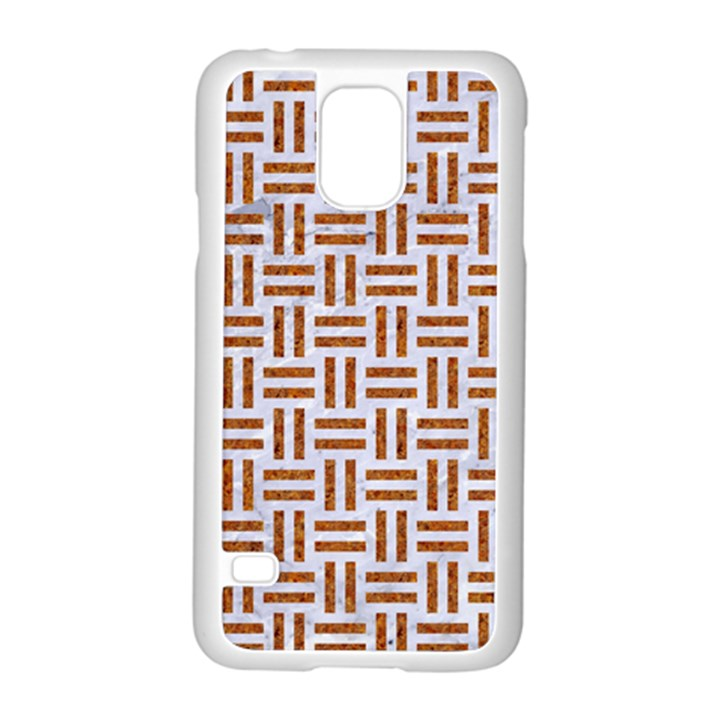 WOVEN1 WHITE MARBLE & RUSTED METAL (R) Samsung Galaxy S5 Case (White)