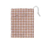 WOVEN1 WHITE MARBLE & RUSTED METAL (R) Drawstring Pouches (Medium)  Front