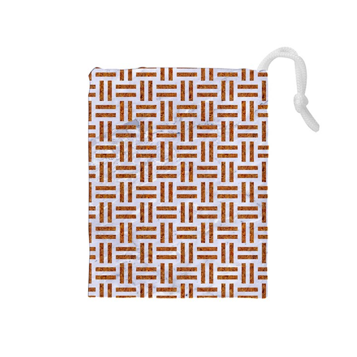 WOVEN1 WHITE MARBLE & RUSTED METAL (R) Drawstring Pouches (Medium)