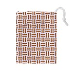 WOVEN1 WHITE MARBLE & RUSTED METAL (R) Drawstring Pouches (Large)  Front