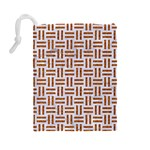 WOVEN1 WHITE MARBLE & RUSTED METAL (R) Drawstring Pouches (Large)  Back