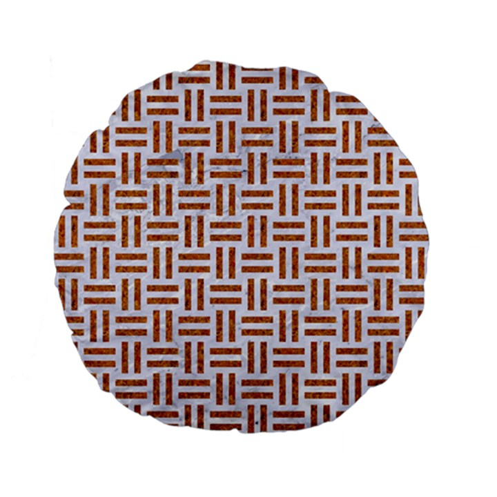 WOVEN1 WHITE MARBLE & RUSTED METAL (R) Standard 15  Premium Flano Round Cushions