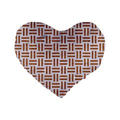 Woven1 White Marble & Rusted Metal (r) Standard 16  Premium Flano Heart Shape Cushions