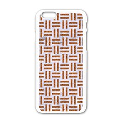 Woven1 White Marble & Rusted Metal (r) Apple Iphone 6/6s White Enamel Case