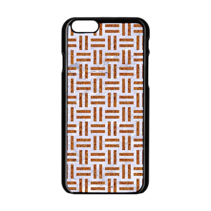 WOVEN1 WHITE MARBLE & RUSTED METAL (R) Apple iPhone 6/6S Black Enamel Case