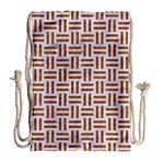 WOVEN1 WHITE MARBLE & RUSTED METAL (R) Drawstring Bag (Large) Back
