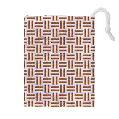 Woven1 White Marble & Rusted Metal (r) Drawstring Pouches (extra Large)