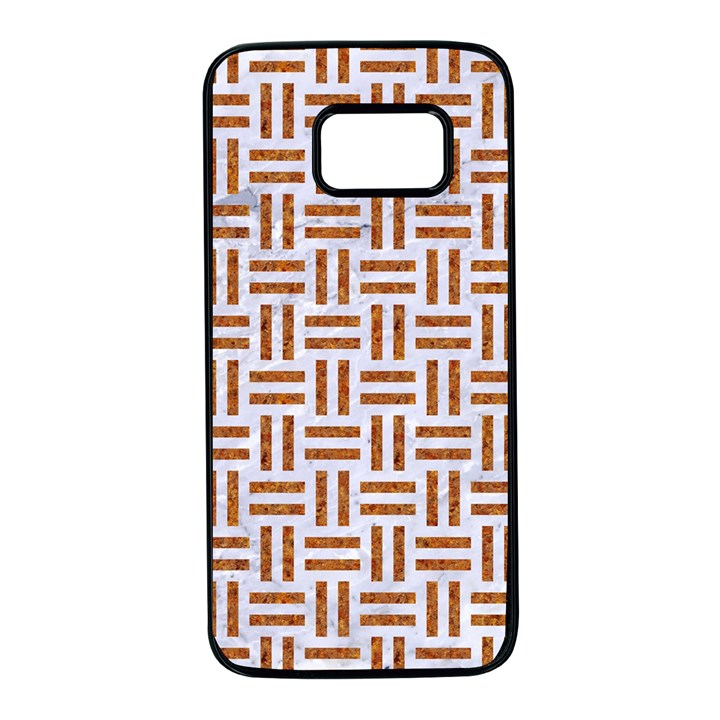 WOVEN1 WHITE MARBLE & RUSTED METAL (R) Samsung Galaxy S7 Black Seamless Case