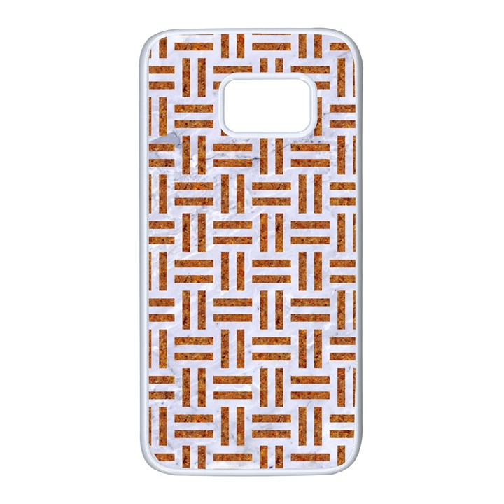 WOVEN1 WHITE MARBLE & RUSTED METAL (R) Samsung Galaxy S7 White Seamless Case