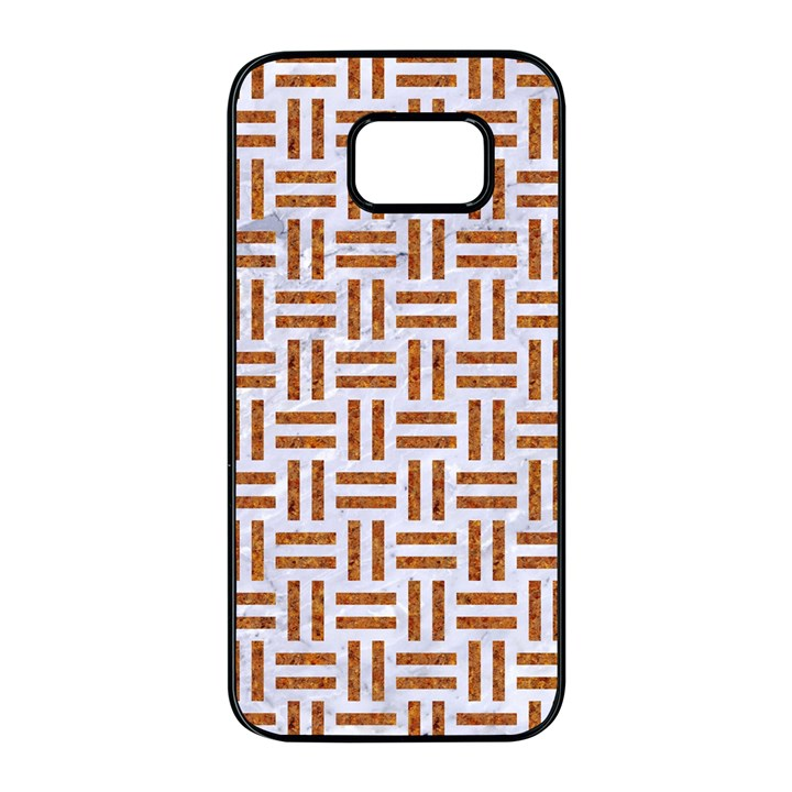 WOVEN1 WHITE MARBLE & RUSTED METAL (R) Samsung Galaxy S7 edge Black Seamless Case