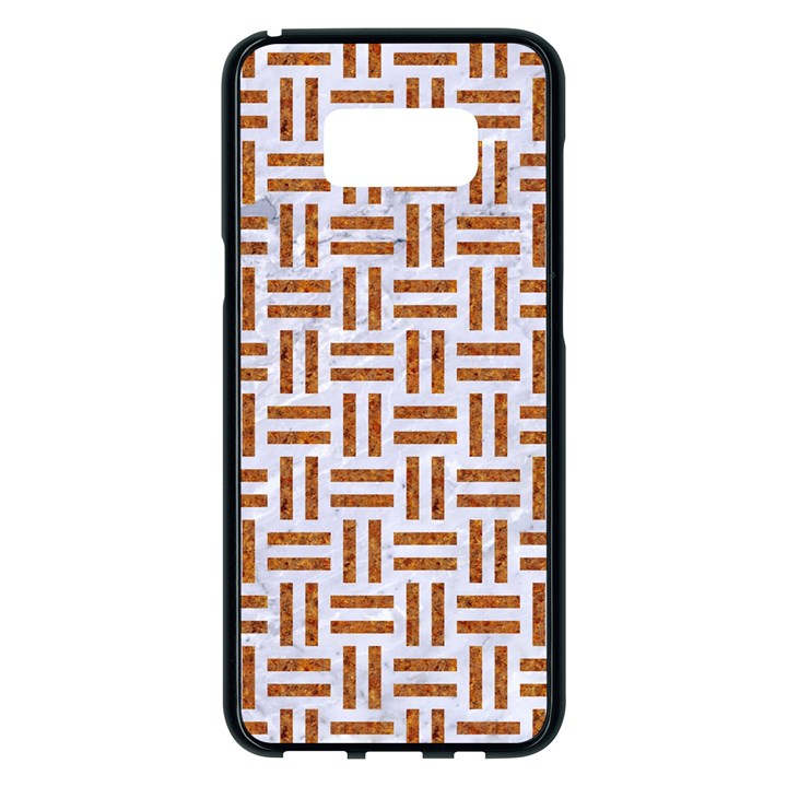 WOVEN1 WHITE MARBLE & RUSTED METAL (R) Samsung Galaxy S8 Plus Black Seamless Case