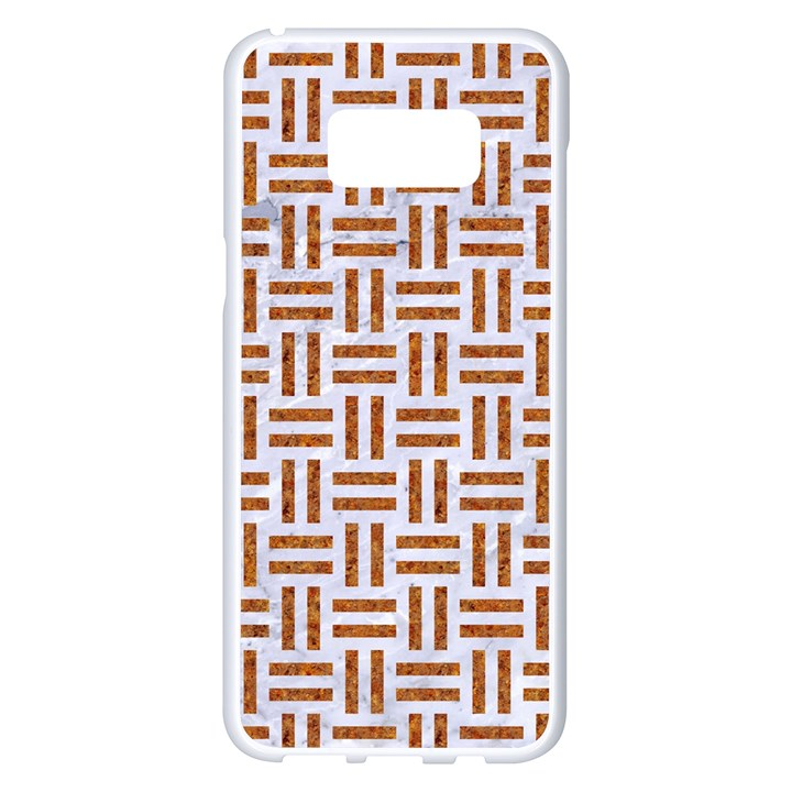 WOVEN1 WHITE MARBLE & RUSTED METAL (R) Samsung Galaxy S8 Plus White Seamless Case