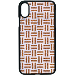 Woven1 White Marble & Rusted Metal (r) Apple Iphone X Seamless Case (black)