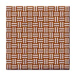 WOVEN1 WHITE MARBLE & RUSTED METAL Tile Coasters Front