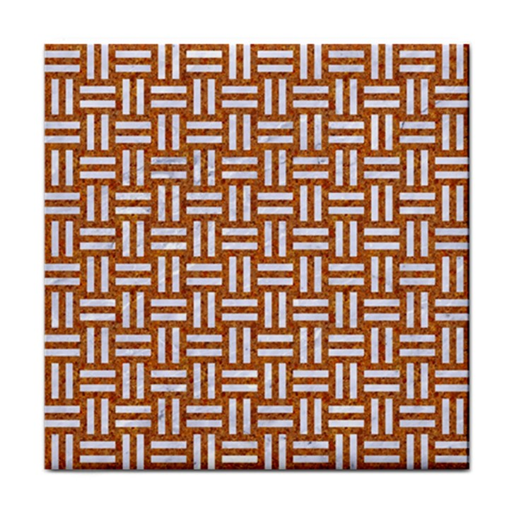 WOVEN1 WHITE MARBLE & RUSTED METAL Tile Coasters
